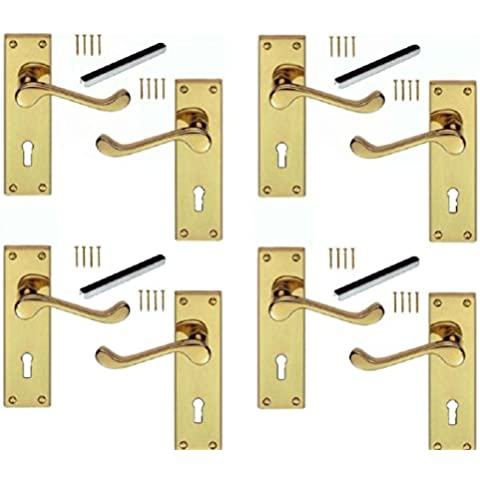 """6 """"Scroll Fermo Leva porta maniglie di blocco in ottone lucido 150x40mm (4 coppie)"""