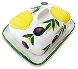 Lashuma Handgemachte Butterdose aus Italienischer Keramik im Zitronen Oliven Design, Butterbox Größe: ca. 18 x 14 cm