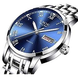 Montre-Homme, Business Casual Montre Bleu étanche en Acier Inoxydable analogique Quartz de Calendrier Watch for Man LG9846