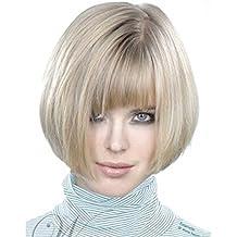 Falamka elegante Side Bang Short Bob parrucca sintetica per le donne bianco  senza cappuccio b88034b9aa36