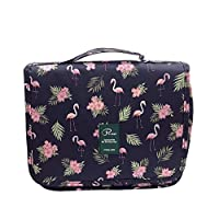 Travel Toiletry Bags,LATIT Cosmetic Organizer with Multi Pockets Hanging Waterproof Wash Bag Makeups Shaving & Personal Care for Man Woman & Kids (Flamingo Pattern)