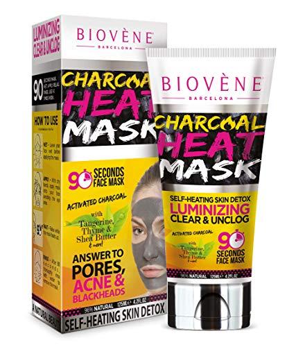Masque Chauffant Biovène au Charbon - Ouvre les pores + Élimine les impuretés - Masque Chauffant pour le Visage Infusé d'Ingrédients Naturels, Minéraux et Vitamines (125 ml)