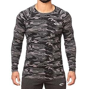 SMILODOX Slim Fit Longsleeve Herren | Camouflage - Funktionsshirt für Sport Fitness Gym & Training | Langarmshirt - Trainingsshirt Langarm - Sportshirt mit Aufdruck, Farbe:Grau, Größe:S