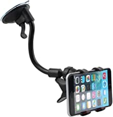 Unifree Soft Tube Mobile Holder with Multi-Angle 360 Degree Rotating Clip, Windshield Mirror Smartphone Car Holder for Mobile Phone - Double Duck (Black)