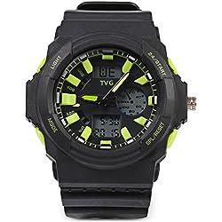 Leopard Shop TVG KM - 391 Sport Wristwatch Multifunctional Male Dual Movt Watch Calendar LED Display 3ATM Green