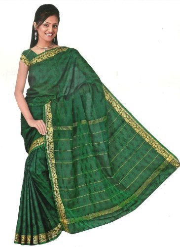 Bollywood Sari Kleid Regenbogen Grün (Bollywood Sari)