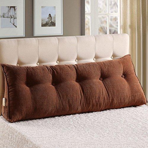 MMM- Coussin de chevet oreiller lit double canapé triangulaire étui souple dossier ceinture ( Couleur : Marron , taille : 120*25*50cm )