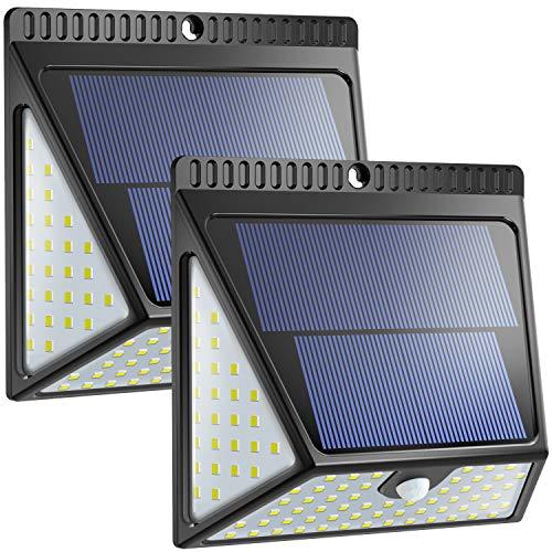 Lampada solare a 82 LED per esterni, versione aggiornata, Neloodony Luce Solare Led Esterno con grandangolo per porte anteriori, cortile posteriore, portico, garage.2000LM Lampade Solar - 2 packsi
