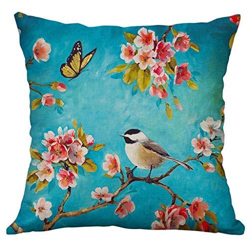 Xmiral Kissenbezüge Kissenhüllen Leinenmischung Blume Vogel Drucken Schmücken Kopfkissenbezug 40x40cm(E) -