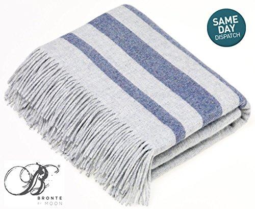 Bronte by Moon Luxury Merino Lammwoll-& Angora Sevilla Streifen Überwurf–Grau/Blau (Lambswool Angora)