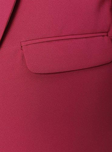 oodji Ultra Femme Veste Longue sans Fermeture Rouge (4900N)