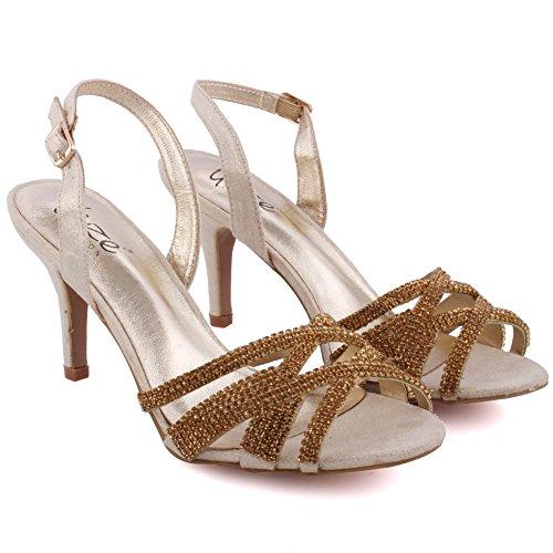 Unze Partito Mid High Heel delle donne 'Barna' Get-Insieme Soiree Carnevale Sandali Scarpe da Sposa UK Size 3-8 Oro