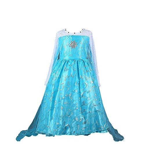 D'amelie Eiskönigin Prinzessin Kostüm Kinder Glanz Kleid Mädchen Weihnachten Verkleidung Karneval Rollenspiele Party Halloween (Prinzessin Halloween Junior Kostüme)