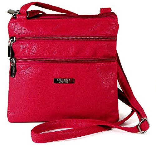 Neue Damen Leder-Umhängetasche, Messenger Bag, Umhängetasche, Schultertasche mit Reißverschluss Rose
