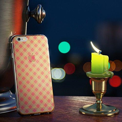 iPhone 6 6S Hülle Handyhülle von NICA, Slim Glitzer TPU Silikon Case Cover Crystal Schutzhülle Dünn Durchsichtig, Handy-Tasche Backcover Transparent Bumper für Apple iPhone-6, Designs:Colored Bokeh Pink Plaid