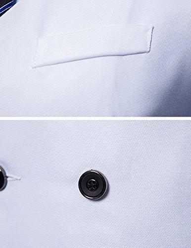 STTLZMC Herren Anzugweste Zweireiher Pure Farbe V-Ausschnitt Blazer Weste Weiß