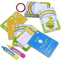 Reutilizable Colorear Doodle Dibujo Agua Libro + Agua Pen, Juguete de Pintura Regalo para niños bebé (Números, 26 Tarjetas + 2 Bolígrafos)