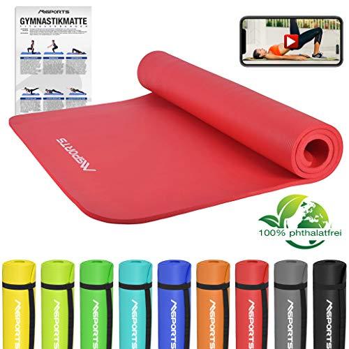 MSPORTS Gymnastikmatte Premium inkl. Tragegurt + Übungsposter + Workout App GRATIS I Fitnessmatte Rubinrot - 190 x 100 x 1,5 cm Hautfreundliche Phthalatfreie Yogamatte