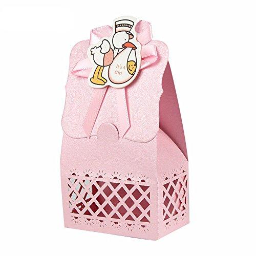 Yalulu 12 Stück Niedlich Gastgeschenke Taufe Geschenkbox Baby-Süßigkeit Baby Candy Box Candy Flaschen Geschenk Box Baby-Dusche-Bevorzugungen Taufe Geschenk (Rosa Vogel)