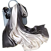 W.Best Femme Foulard 100% Soie Grande Echarpe Châle Ultra-Léger Respirant  Elégant edcd9484d3e