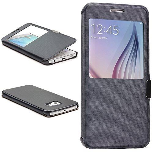 Urcover® View Case Handy Schutz-Hülle | Kompatibel mit Samsung Galaxy S6 Edge | Hart Kunststoff Dunkel Blau | Elegant Wallet Cover Sicht-Fenster | leichte Schale dünne Tasche