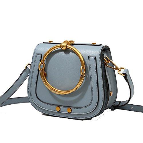 Damen Handtaschen Mädchen Umhängetasche Messenger Bag Ring Sattel Querschnitt Trend Mode Freizeit Outdoor Blue