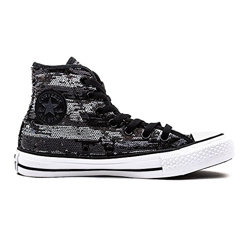 Converse, All Star Hi Leather Suede Sneaker,Unisex Adulto BLACK SILVER