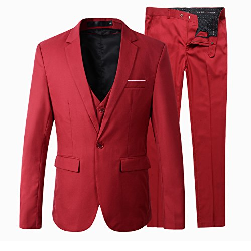 Herren Slim Fit 3 Pieces Anzug Blazer Anzugjacke (S, Rot)