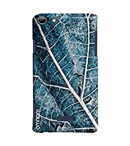 Omnam Blue Leaf With Cloesup Pattern Printed Designer Back Cover Case For Micromax Selfie 3 Q348