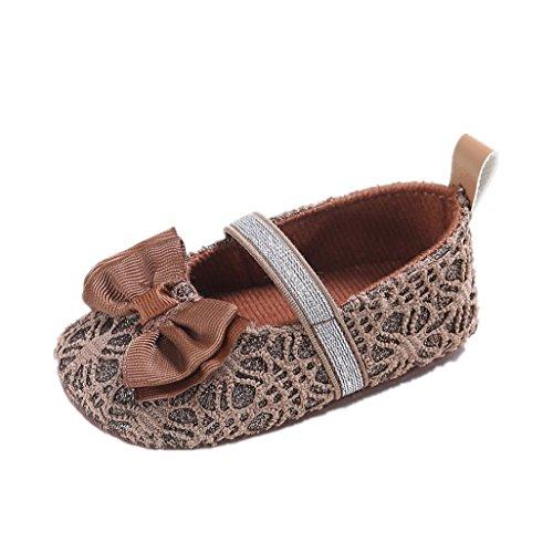 Baby Schuhe Auxma Baby Bowknot Anti-Rutsch-Schuhe Kleinkind Schuhe Pantoffel für 3-12 Monate (11 3-6 M, Rosa) Braun