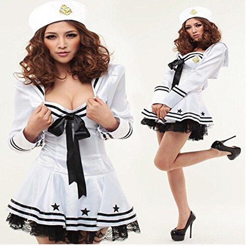 Gorgeous Cosplay Kleid Halloween weibliche Modelle weißen Marine-Seemann -Uniformversuchung installiert -