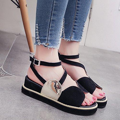 RUGAI-UE Spesso sandali estivi fibbia comode scarpe piatte Black