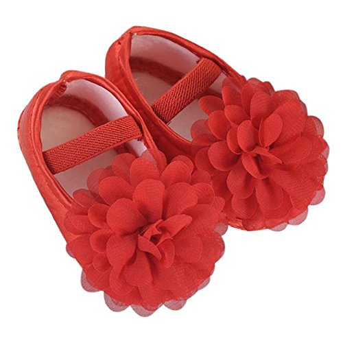Mode Freizeit Chiffon Blume -Gummiband- Babyschuhe - Antirutsch Krippeschuhe Kinderschuhe, Neugeborene Mädchen Princess Kleinkind Schuhe Krabbelschuhe Wanderschuhe für 0-18Monate (6-12M, Rot)
