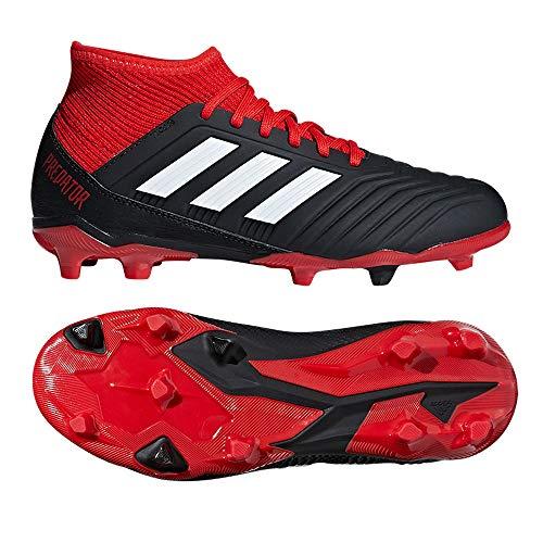 adidas Unisex-Kinder Predator 18.3 FG Fußballschuhe, schwarz/rot/weiß, 36 EU
