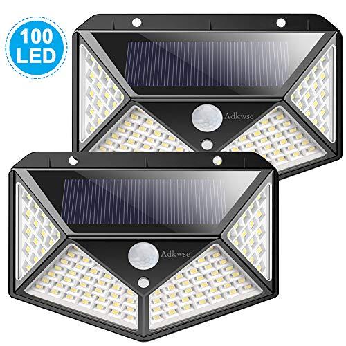Adkwse Solarlampen für Außen,100 LEDs Solar Aussenleuchte mit Bewegungsmelder Wasserdicht für Gärten,Türe,Flur,Wege (Solar Oberfläche Licht)