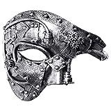 Coddsmz Masquerade Steampunk Mask Fantasma della Maschera Veneziana Maschera Meccanica per Feste (Argento Antico)