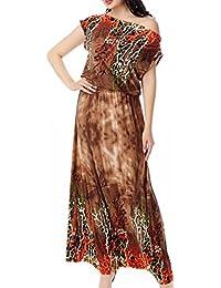 HaiDean Vestito Lungo Donna Giovane Hippie Estivi Vestiti Manica Corta V  Scollo Stampato Modello Boho Abito 975deaf7643