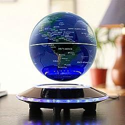 Globo flotante de levitación magnética Mapa mundial rotativo - Globo antigravedad para regalo educativo - Oficina en casa Decoración de escritorio de clase – Dragon Flame (Azul EUR enchufe)