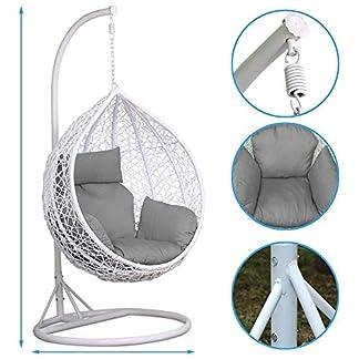 Silla Colgante al Aire Libre Silla de ratán Columpio Patio Jardín Mimbre Silla de Huevo Colgante Blanca Hamaca Cojín Lovable 150 kg