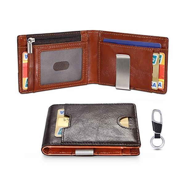 flintronic Portia Carte di Credito e Tasche Pelle, RFID/NFC Blocco Portafoglo, (1 Scomparto Con Cerniera, 6 Slot Per… 1 spesavip