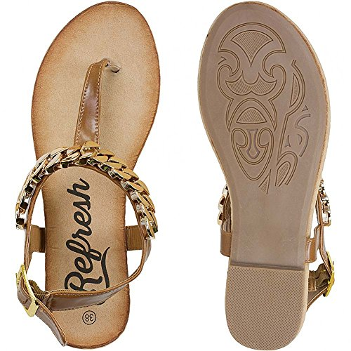 Refresh Women Flip Flops Sandalen Zehentrenner 60781 Camel