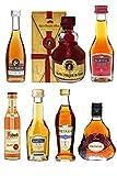 Weinbrand und Cognac Probierset mit jew. 1 x Metaxa 7-Sterne 5cl, Hennessy XO 5cl, Asbach Weinbrand 4cl, Martell VSOP 5cl, Martell VS 5cl, Remy Martin VSOP 5cl, Gran Duque de Alba Solera 5cl