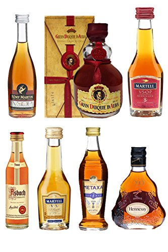 Weinbrand und Cognac Probierset mit jew. 1 x Metaxa 7-Sterne 5cl, Hennessy XO 5cl, Asbach Weinbrand...