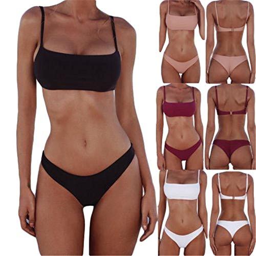 Nautica 2 Stück Bikini (BUETEFUL&LIVE New New Sexy Push Up Unpadded Brazilian Bikini Set Women 3 Color Vintage Swimwear Swimsuit Beach Suit Biquini Bathing Suits Red XL)