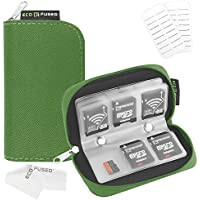 Memory Card Carrying Case - Suitable for SDHC and SD Cards - 8 Pages and 22 Slots - ECO-FUSED Microfiber Cleaning Cloth Included (1 Pack, Green)
