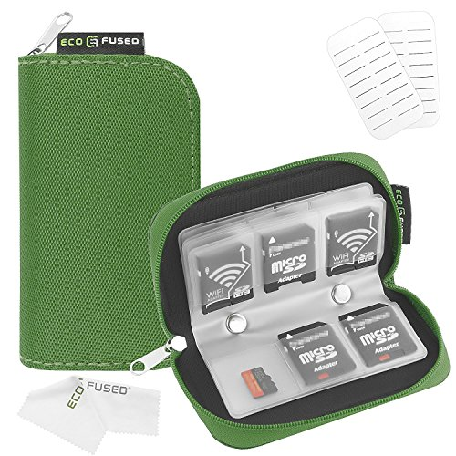 ECO-FUSED Estuche para Tarjetas de Memoria SDHC y SD,Verde