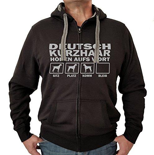 DEUTSCH KURZHAAR Jagdhund Jäger DK - JACKE HÖREN AUFS WORT Motiv Siviwonder Unisex HUND Kapuzen Zip Pullover Sweatjacke Hunde schwarz S (Dk Herren-kapuzen-zip-sweatshirt)