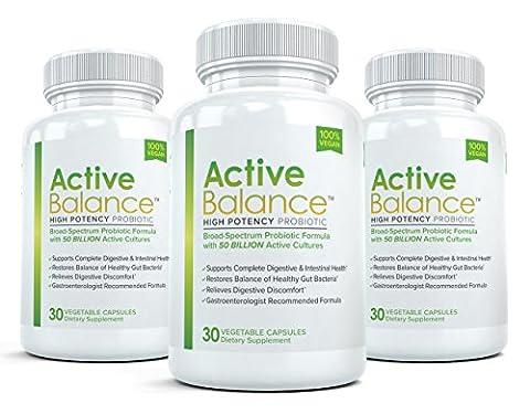 Active Balance (3 Bottles) Advanced High Potency Probiotic Supplement - 50 billion CFU's - 30 Capsules per