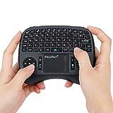 AHECE Mini Handheld Tastatur Wireless Keyboard USB QWERTZ Tastatur kabellos mit Touchpad-Maus geeignet für Smart TV, Android TV Box, PC, IPTV, Tablets usw - Schwarz (Deutschem Layout)