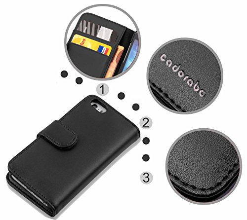 Apple iPhone 5 / 5S / SE Hülle in BRAUN von Cadorabo - Handy-Hülle mit Karten-Fach und Standfunktion Case Cover Schutz-hülle Etui Tasche Book Klapp Style in KAKAO-BRAUN KAVIAR-SCHWARZ